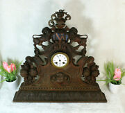 Antique 19th Black Forest Wood Carved Knight Lions Mantel Clock Rare