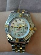 Breitling Watch Cockpit B71356 Gold 18k And Steel And Diamonds Mop Dial Ladies 32mm