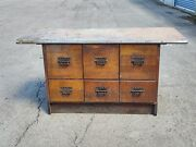 Antique Sherer Store 6 Drawer File Cabinet Counter, Pickup Only