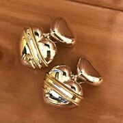 And Co. Heart Arrow Clip-on Earrings 18k Yellow Gold Silver 925 E50