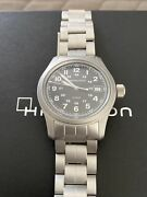 Hamilton Khaki Field Menand039s Black Watch With Silver Stainless Steel Band -...