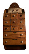 Antique 11 Drawer Spice Cabinet Apothecary Original Porcelain Knobs Aafa