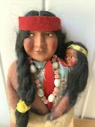 Vintage Bully Good Skookum Indian Doll And Papoose Necklace Feathers Original Box