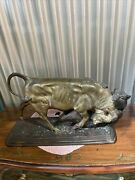Bear And Bull By Isidore Bonheur Lost Wax Bronze Collectible Sculpture Statue