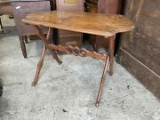 Outstanding Antique 1870s Sawbuck Table Figured Maple Molded Top Fantastic Size
