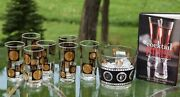 Vintage Cocktail Highball Glasses With Ice Bucket Cera Black And Gold Coin
