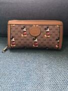 Disney Long Wallet Mickey Mouse Round Zipper Ladies W/tracking Brown