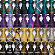 Dibangu Mens Silk Necktie Gold Black Purple Teal Tie Clip Pocket Square Cufflink