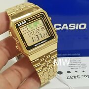 New Casio Vintage Retro Gold A500wg-1 A-500wg-1 World Time Alarm Map Display