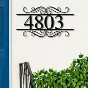 Modern House Numbers Sign Black Metal Address Plaque