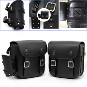 Black Pu Water Cup Bag Retro Hanging Side Pouch Motorcycle Luggage Saddlebag