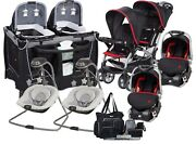 Baby Trend Double Stroller With 2 Car Seats Twins Red Combo Playard 2 Swings Bag