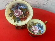 Stunning Aynsley Gold Teacup And Saucer Cabbage Rose Signed J. A. Bailey