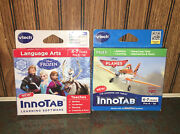 2 Vtech Frozen Lang. Art And Planes Math 4-7 Y Pre-k 1st Innotab Learning Software