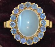 Late Victorian 14k Blue Flash Moonstone And Blue Sapphire Halo Ring