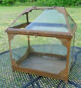 Vintage Antique Arts And Crafts Style Metal Glass Terrarium Painted Brown 2