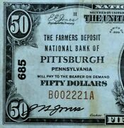 1929 50 National Bank Note ✪ Farmers Deposit Nb Pittsburgh ✪ Pa 685 ◢trusted◣