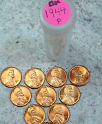10 - 1944 P Uncirculated Lincoln Wheat Cent Pennies 3