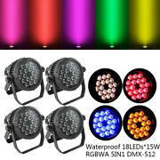 4pcs 18led15w Waterproof Rgbwa 5in1 Stage Par Light Color Mixing Dmx512 Washer