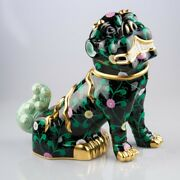 Herend Fo-dog Big Sn15295 Special Black And Lladro 01007262 Gold Cactus New