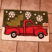 St Nicholas Square Christmas Red Truck Bath Kitchen Rug 20 X 30 In New