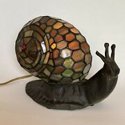 Style Snail Lamp Leaded Glass Green