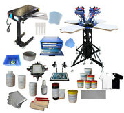 Full Set Screen Printing Kit 4 Color Micro-adjust Press W/plate-making Products