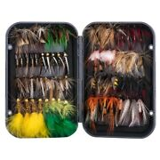 76pcs/lot Fly Fishing Lures Kit Dry Wet Nymph Streamer Assorted Size Trout Flies