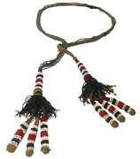 Rare Late 19th C Sw Nat Am Antique Necklace W/veg Dyed Hemp Cord/clrd Seed Beads