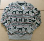 J Crew Menand039s Fair Isle Lambs Wool Hound Dog Crewneck Sweater Sz S Hthr Willow
