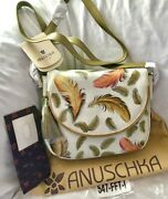 Anuschka Nwt🤎flap-over Convertible Crossbody-floating Feathers Ivory 547-fft-i