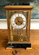 Vintage 19th Century French Japy Freres Four Glass Crystal Regulator Clock