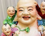 Large Antique Buddha With 5 Children 11 1/2 Inches With Mark
