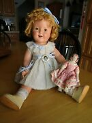 Vintage Shirley Temple Composition Doll Orig Dress And Pin 18 Ideal As-is