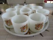 Vintage Set Exxon Esso Tiger 9 Fire King Milk Glass Mugs And Serving Tray