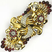 Coro Pave Ruby Cabochons And Two Gold Flowers Deco Dress Clip Duette