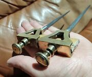 Unusually Long Pair Of Brass Antique Trammels Woodwork Marking Tools Woodworking