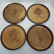 Hand Thrown Studio Pottery Clay Dinner Plate Set 2-tree 2-pine Cone Signed Earth