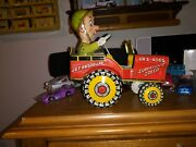 1944 Gi - Joe Jouncing Jeep Tin Litho Wind Up Crazy Car Toy By Unique Art Works