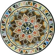 42 Marble Reception Table Top Geometrical Pattern Round Shape Dining Table Top