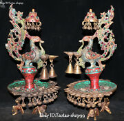 Tibet Bronze Inlay Turquoise Coral Phoenix Animal Candle Holder Candlestick Pair