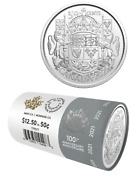 2021 Limited Edition 50 Cent 100th Anniv Coat Of Arms Mint Roll 25 Coins Canada