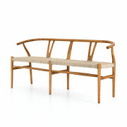65 W Open Airy Brown Teak Branch Dining Entryway Bench Rod Curved Rustic Rope
