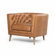 38 W Angelo Vintage Mid Century Style Club Chair Button Tufted Brown Leather