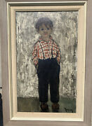 Oil On Canvas Painting Young Boy Signed Marcel Masson Aka Antoine Blanchard