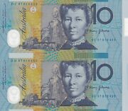 Australia 10 1997 Uncut Pair Of Polymer Notes With Blue Serial Number. Unc