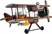 Whiskey Decanter Airplane Set And Glasses Antique Wood Airplane Fathers Day Gift