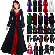Women Cosplay Witch Costume Dresses Robe Renaissance Party Fancy Gothic Dress