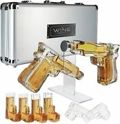 Pistol Whiskey Gun Decanter And Pistol Shot Glasses Set With Case Mens Drink Gifts