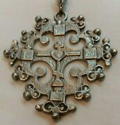 Ornate Antique Catholic Religious Cross Silver Medal Pendant Necklace Relic 58g
